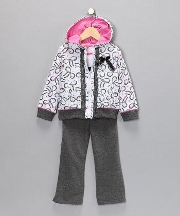 Pink & Gray Bow Pants Set - Infant