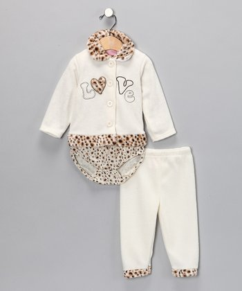 White Leopard 'Love' Pants Set - Infant