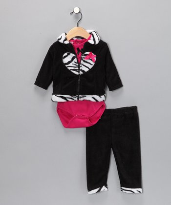 Black & Pink Zebra Pants Set - Infant