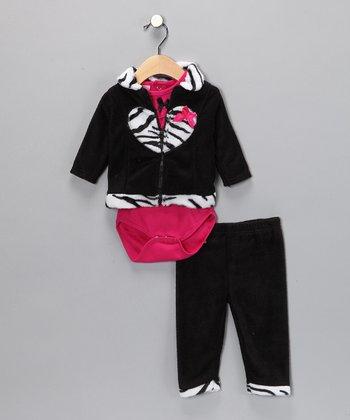 Black & Pink Zebra Pants Set - Infant