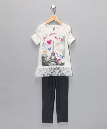 White 'Paris' Top & Leggings - Infant