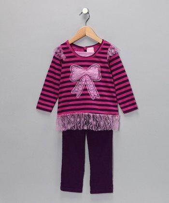 Purple Stripe Bow Top & Pants - Infant