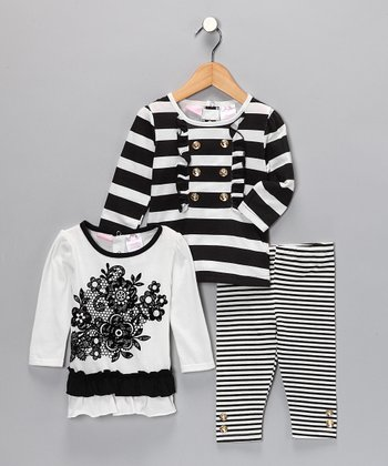 Black & White Stripe Leggings Set - Infant