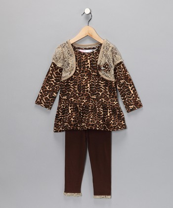 Brown Layered Tunic & Leggings - Infant