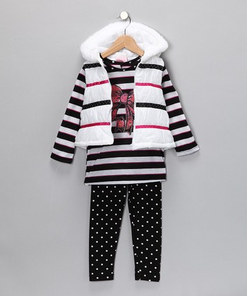Black & Pink Stripe Leggings Set - Infant