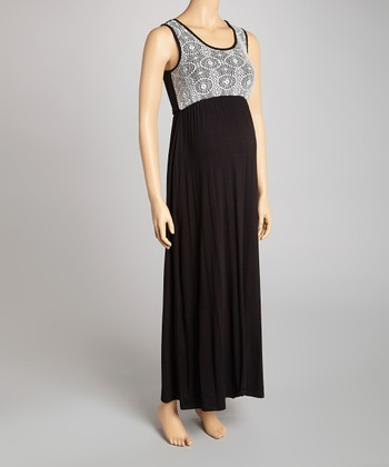 Black & White Lace Maternity Maxi Dress