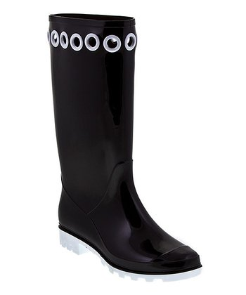 Black & White Rainy Hoops Rain Boot