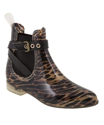Beige & Tiger Punky Rain Ankle Boot