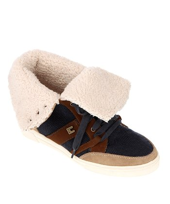Navy Rebian Fold-Over Sneaker - Women