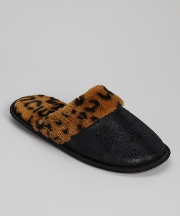Black Leopard Slipper