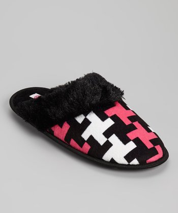 Black & Fuchsia Fur Cuff Crisscross Slipper