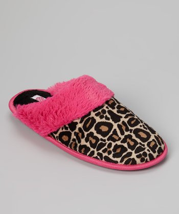 Black & Brown Leopard Fur Cuff Slipper
