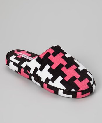Black & Fuchsia Crisscross Slipper