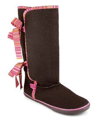 Brown & Pink Stripe Slipper Boot
