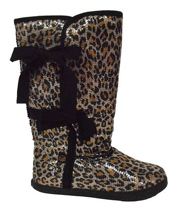 Tan & Black Leopard Slipper Boot