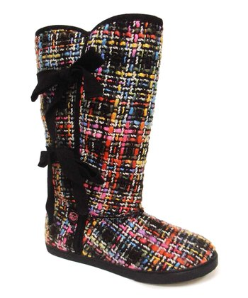 Black & Pink Twill Slipper Boot