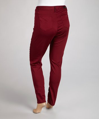 Wine Basic Sateen Skinny Jeans - Plus