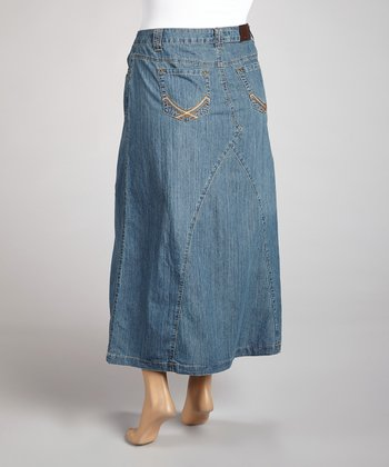 Medium Blue A-Line Denim Maxi Skirt - Plus