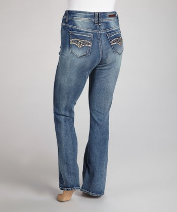 Medium Blue Rhinestone Embroidered Bootcut Jeans - Plus