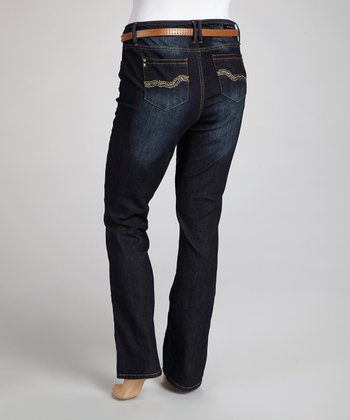 Dark Blue Flap-Pocket Bootcut Jeans - Plus