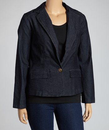 Dark Blue One-Button Denim Blazer - Plus