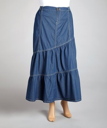 Medium Blue Tiered Denim Maxi Skirt - Plus