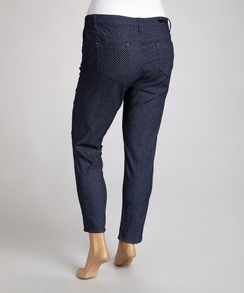 Navy Pin Dot Skinny Jeans - Plus