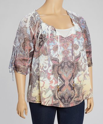 Neutral Shade & Purity Paisley Sublimation Top - Plus