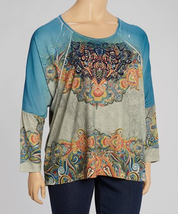 Bohemian Dream & City Silver Paisley Sublimation Top - Plus