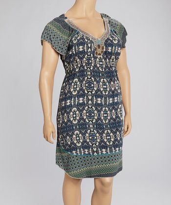Cream & Blue Arabesque Embellished Dress - Plus