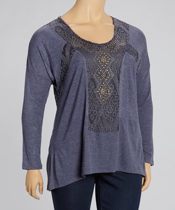 Navy Embellished Top - Plus