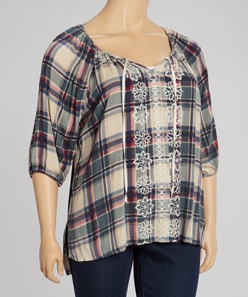 Red & Ivory Southern Plaid Peasant Top - Plus