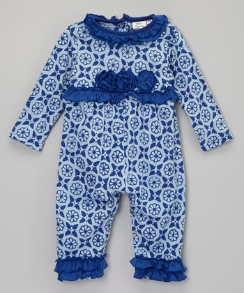 White & Navy Floral Ruffle Playsuit - Infant