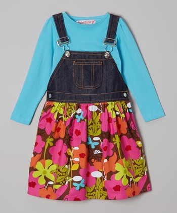 Turquoise Tee & Denim Floral Jumper - Toddler & Girls