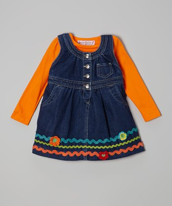 Orange Ruffle Tee & Denim Jumper - Toddler & Girls