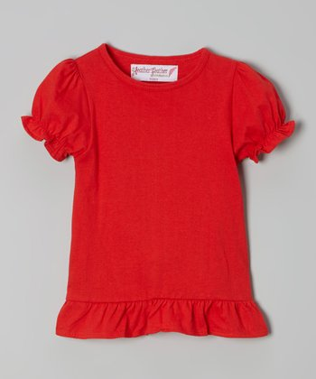 Red Puff-Sleeve Tee - Toddler & Girls