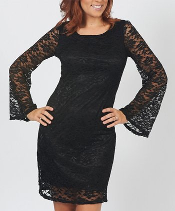 Black Floral Lace Overlay Dress