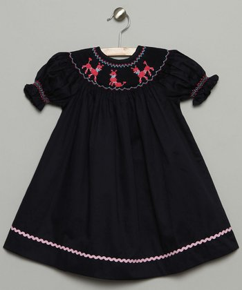 Navy Blue Poodle Bishop Dress - Infant & Toddler