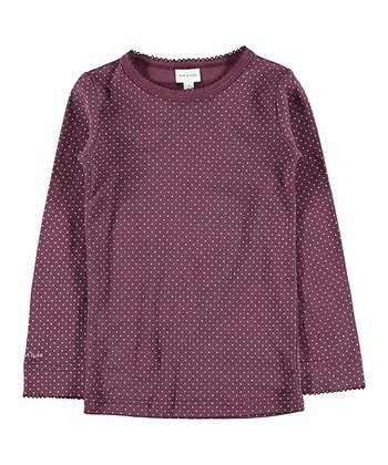 Prune Purple Polka Dot Eli Tee - Girls