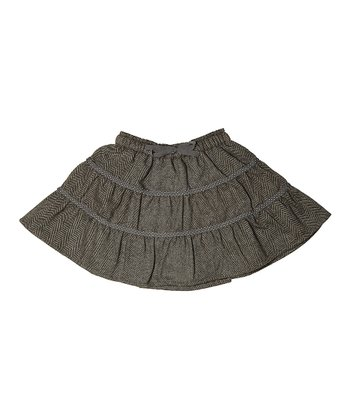Dark Shadow Herringbone Shamira Skirt - Girls