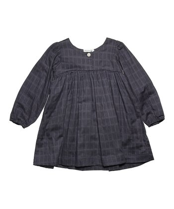 Ombré Blue Windowpane Olena Dress - Girls