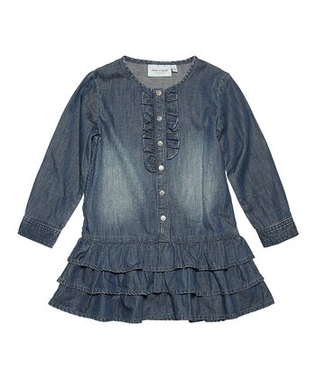 Ombré Blue Belinda Ruffle Denim Dress - Girls