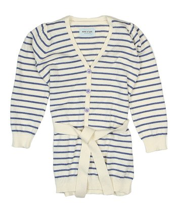 Antique White Stripe Christa Cardigan - Girls