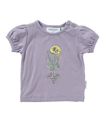 Lavender Light Flower Puff-Sleeve Tee - Infant