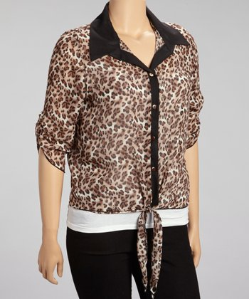 Black & Leopard Button-Up - Plus