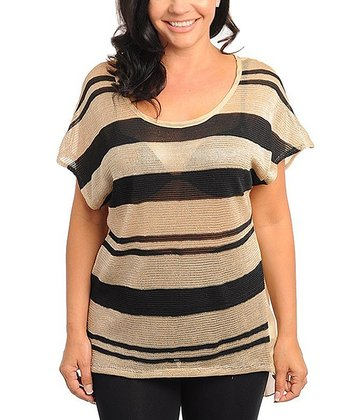 Black & Taupe Sheer Stripe Dolman Top - Plus