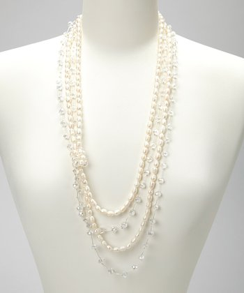 White Freshwater Pearl & Clear Crystal Audrey Necklace