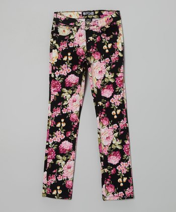Black & Pink Floral Straight-Leg Jeans - Girls