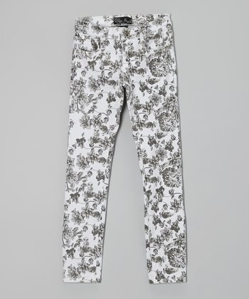 Black & White Floral Straight-Leg Jeans - Girls