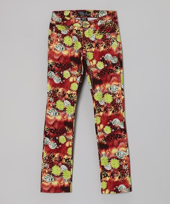 Red & Black Cheetah Floral Straight-Leg Jeans - Girls
